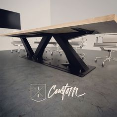 Designed + Fabricated in the U.S.A. by 2 Brothers. Custom Conference Tables & Desks. IndustrialReclaim.com