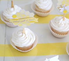 3-D cupcake baby shower cupcake toppers | Kim Byers