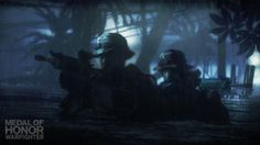 Special forces operatives using water as cover in a jungle setting in Medal of Honor: Warfighter