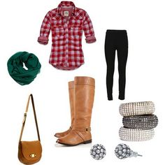 Red gingham shirt with green scarf