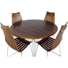 Rosewood Hans Brattrud Dinner Set | See more antique and modern Dining Room Sets at https://www.1stdibs.com/furniture/tables/dining-room-sets