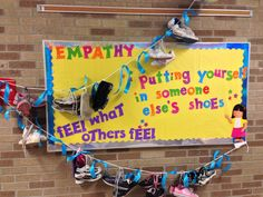 Empathy Bulletin Board - putting yourself in someone else's shoes! Teach a lesson using the Sesame Street clip from YouTube w/ Mark Ruffalo and Murray about empathy. Bulletin Board School Counseling