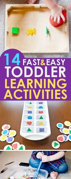 TODDLER LEARNING ACTIVITIES: A wonderful list of toddler activities that are both fun and educational! These 14 learning activities for toddlers will hold their attention while teaching them shapes, colors, the alphabet and more!