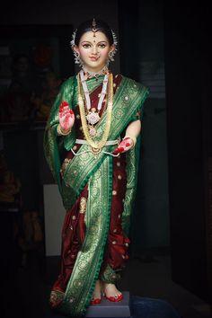 Maa Gauri Mother Of Lord Ganesh by Sharmila Deshpande Ganesh Lord, Shri Ganesh, Krishna Hindu, Ganesha Art, Durga Images, Ganesh Images, Lakshmi Images, Gauri Decoration, Durga Ji