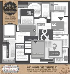 LIP: 3x4 Journal Card Templates v.03 from Peppermint Creative, Digital Scrapbook Supplies #projectlife #pocketpage