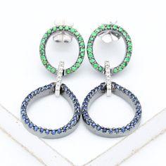 Blue Sapphire & Diamond Earrings in 18k Gold by Equalli