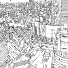 coloring for adults cityscapes - Google keresés