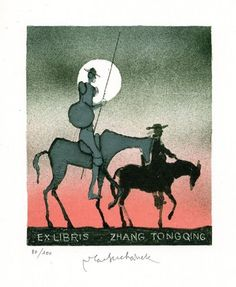 Don Quixote- Ex libris by Vladimir Suchanek
