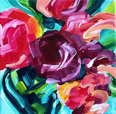 Learn how to paint abstract flowers with acrylic paint on canvas step by step in these video tutorials by Elle Byers Art Easy Flower Painting, Acrylic Painting Flowers, Acrylic Painting Tutorials, Abstract Flowers, Acrylic Painting Canvas, Paint Flowers, Artist Painting, Painting Process, Painting Techniques