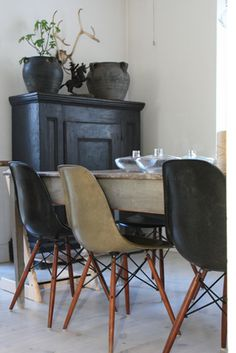 Eames chair and farmhouse table Decor, Interior, Living Room Chairs, Dinning Room, Home Decor, House Interior, Dining Chairs, Interior Design, Home And Living
