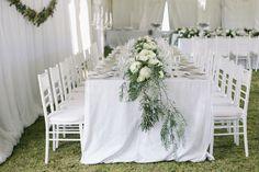 Floral runner | SouthBound Bride | http://www.southboundbride.com/simple-elegance-natures-valley-wedding-by-jenni-elizabeth-michele-and-john | Credit: Jenni Elizabeth