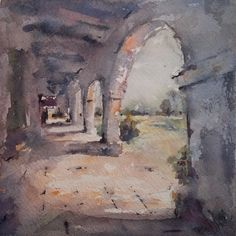 """Mission Arches"" original watercolor painting by Julie Hill (6"" x 6"")"