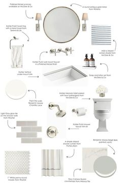 A design board for a Pale Neutral bathroom. Perfect timing because I'm getting ready to renovate a bathroom. House Bathroom, Neutral Bathroom, Girls Bathroom, Interior Design Kitchen, Bathroom Interior, Modern Bathroom, Bathroom Renovations, Bathrooms Remodel, Bathroom Renovation