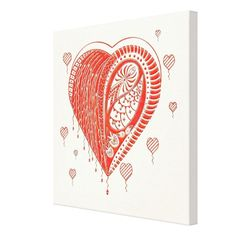 Red Thorn Heart Canvas Print