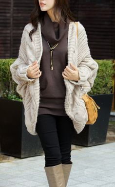 I want to see your favorite chunky sweater! Great for transitioning from the cold weather to a cold office space.