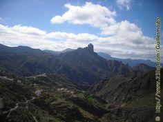 vista paisajista,del roque Bentayga,desde la subida de la era del llano.