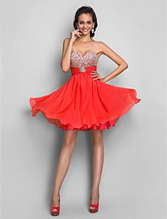 A-line/Princess Sweetheart Short/Mini Chiffon Cocktail/Prom ... – USD $ 149.99