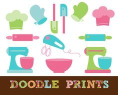Digital Scrapbook Clip Art Printable - Baker Clipart - Baking Supplies - Kitchen Tools - Bakery - Baking - Personal & Commercial Use