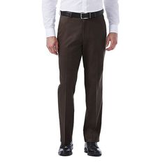Men's Haggar Premium No Iron Khaki Stretch Classic-Fit Flat-Front Pants, Size: 38X31, Dark Brown