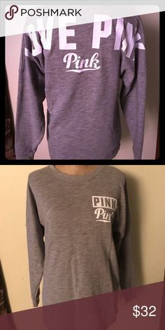 PINK VICTORIA SECRET Pink vs long sleeve top Sz XS. Gray/white in color. PINK Victoria's Secret Tops Tees - Long Sleeve