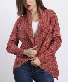 Take a look at this Orange & Taupe Open Cardigan Sweater by VELZERA on #zulily today!