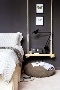 Swing shelf as side table in the bedroom  LOVE!