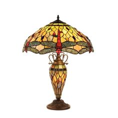 aeaea3139a9c Anisoptera Purity Tiffany-Style Dragonfly 3 Light Double Lit Table Lamp  19