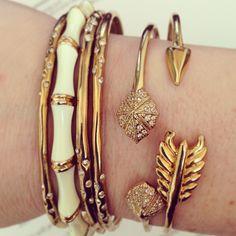 Gorgeous golden arm party with Stella & Dot bracelets