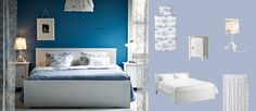 BRUSALI white bed with bedside tables and EMMIE LAND white/blue quilt cover and pillowcases