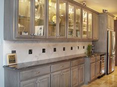 Gray stained washed Hickory Cabinets House Pinterest