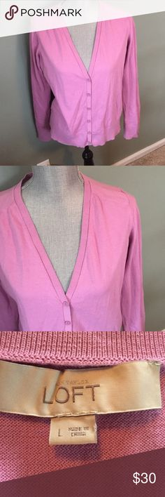 LOFT cardigan Beautiful pink light weight cardigan. No flaws. Never worn LOFT Sweaters Cardigans