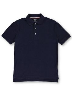 French Toast Big Boys Husky Flat Front Wrinkle No More Double Knee Pants Navy