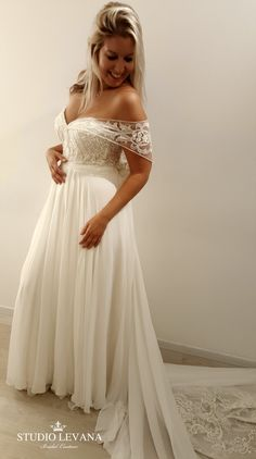 36032d181ad Plus size wedding gown with off shoulder sleeves. Shirley. Studio Levana  Plus Size Wedding