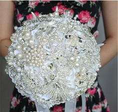 9 Inch White Bridal Flower Wedding Bouquet Brooch use Swarovski Crystal Made Pearl Rhinestone Always Love You -6, $260.00
