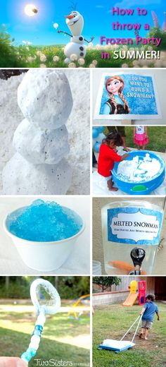 How to Throw a Frozen Party in Summer - We have some great ideas for how to throw a Disney Frozen Birhtday Party in Summer including DIY Snow, Snow Cones, Ice Block Races and more! And for more fun Frozen Party Ideas follow us at http://www.pinterest.com/2SistersCraft/