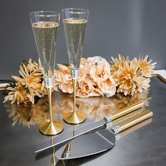 Wedgewood Vera Wang With Love Gold Champagne Toasting Flutes and Cake Serving Set - Available with Personalization from LetsTieTheKnot