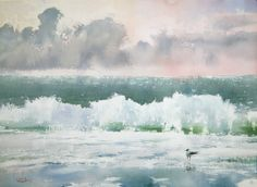 """Watercolor from recent master-class """"Sea & Sky""""  """"Seascape with Seagull""""  watercolor on paper, 41 x 56,  2014 Sergey Temerev"""