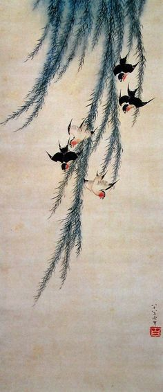 Katsushika Hokusai(葛飾北斎 Japanese, 1760-1849)    Willow and swallows   柳に燕図