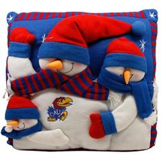 Kansas Jayhawks 18'' Snowman Family Pillow