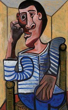 Pablo Picasso Le Marin Self Portrait Kunst Picasso, Art Picasso, Picasso Paintings, Picasso Self Portrait, Cubist Movement, Cubism Art, Art Moderne, Museum Of Modern Art, Line Art