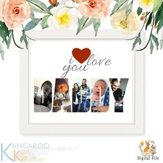 I Love You Daddy Personalised Photo Collage Art: A wonderful personalised photo collage gift in the form of - I LOVE YOU DADDY - brilliant for any occasion! Made to order from your photos to create the perfect gift for a birthday, Fathers Day or Christmas. Map Collage, Family Collage, Collage Design, Photo Collage Gift, Etsy Shop Names, Christmas Gift For Dad, Photo Wall Art, Letter Art, Nursery Prints