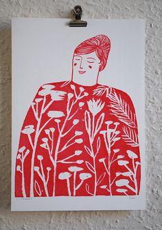Lizzy Stewart. illustration, woman, flowers, patterns