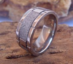Titanium Flat 9mm Men's Band with Gibeon by SedgwickDesign on Etsy