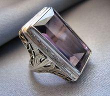 Vintage Art Deco 14K Gold Amethyst Filigree Ring