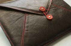ON SALE 13 inch leather macbook laptop case - black leather envelope sleeve. $99.00, via Etsy.