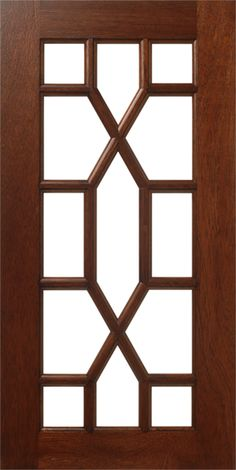 "S788 Frame Door with LP140 - 13 Lites - Natural Mahogany with Cinnamon Wipe Stain - Beautifully designed, unique Lite Pattern that will give you that ""WOW"" factor you are looking for! 