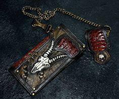 #Mens #wallet #Biker #gift #Leather wallet #men Animal #skull #Chain