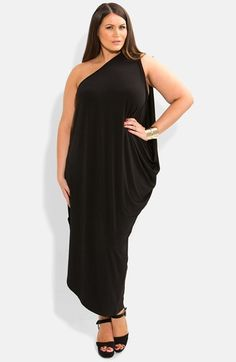 City Chic One-Shoulder Draped Jersey Maxi Dress (Plus Size). I must have this dress.