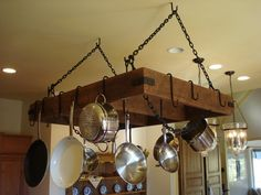 Hand Crafted Made to Order Pan Storage Racks Out of Reclaim Barn Wood outdoor chemical storage cabinets Gone are the days when decorating wa. Kitchen Island Pot Rack, Kitchen Rack, Kitchen Wood, Pot Hanger Kitchen, Kitchen Storage, Wood Storage Rack, Pan Storage, Metal Rack, Toilet Storage