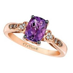 Indulge in the elegant beauty of Chocolate by Petite Le Vian®. With a vivid rectangular Hard Candy Amethyst® at its centre, this stunning ring is crafted from sumptuous 14ct Strawberry Gold® and set with deliciously dazzling Chocolate and Vanilla Diamonds® along the shoulders for breathtaking beauty and unique, glamorous style.